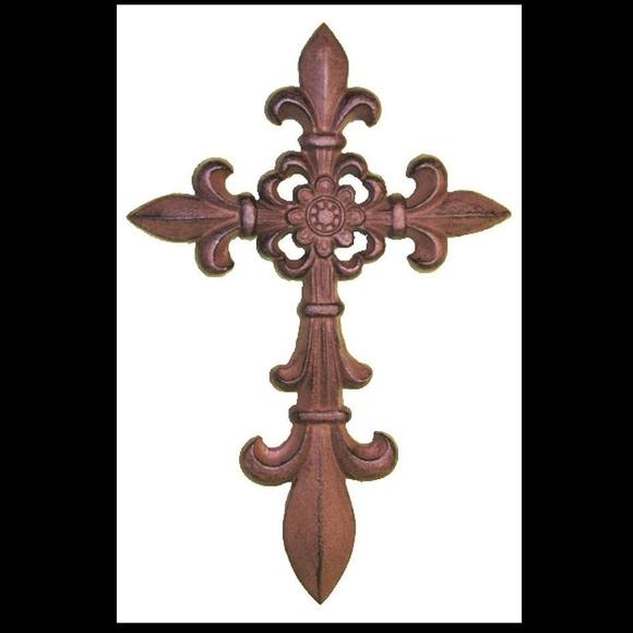 De Leon Collections Accessories | Cast Iron Fleur De Lis Wall Cross ...